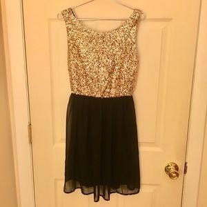 Sparkle pinky sparkle gold mini dress size small